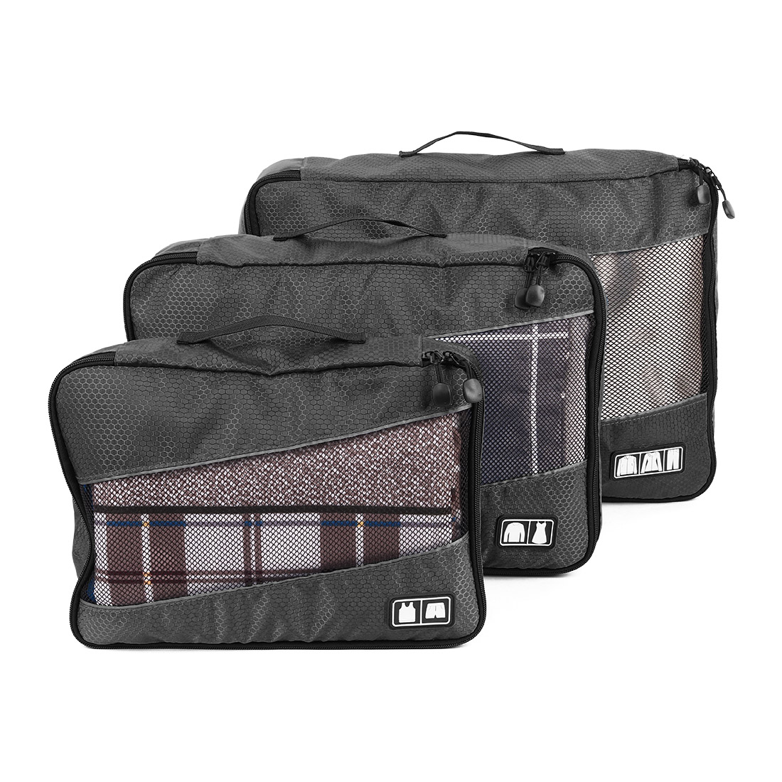 3 in 1 Travel Packing Cube Clothes Storage Suitcase Bags Luggage Organizer Pouch Black
