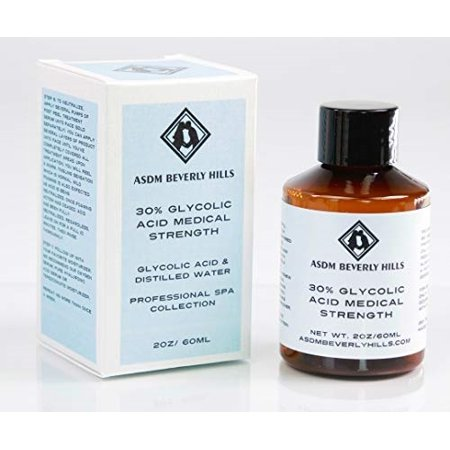 asdm beverly hills 30% glycolic acid peel |2 ounces| anti-aging treatment for wrinkles, acne scars, blackheads, fine lines, oily skin, and dry skin- chemical exfoliate dissolves dead skin