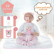 22'' Reborn Baby Handmade Soft Silicone Vinyl Girl Doll Pink Clothes Sleeping Newborn Toy Toddler Doll Birthday Christmas New Year Gift