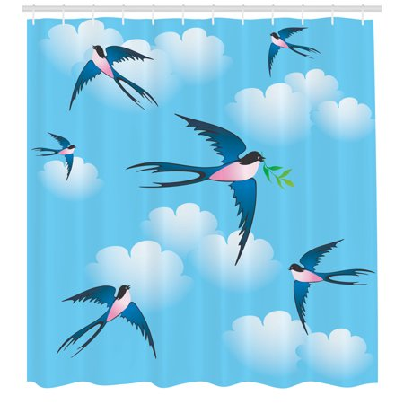 Birds Shower Curtain Illustration Of Blue Swallow Bird Among The Clouds Known As Hirundo Atrocaerulea