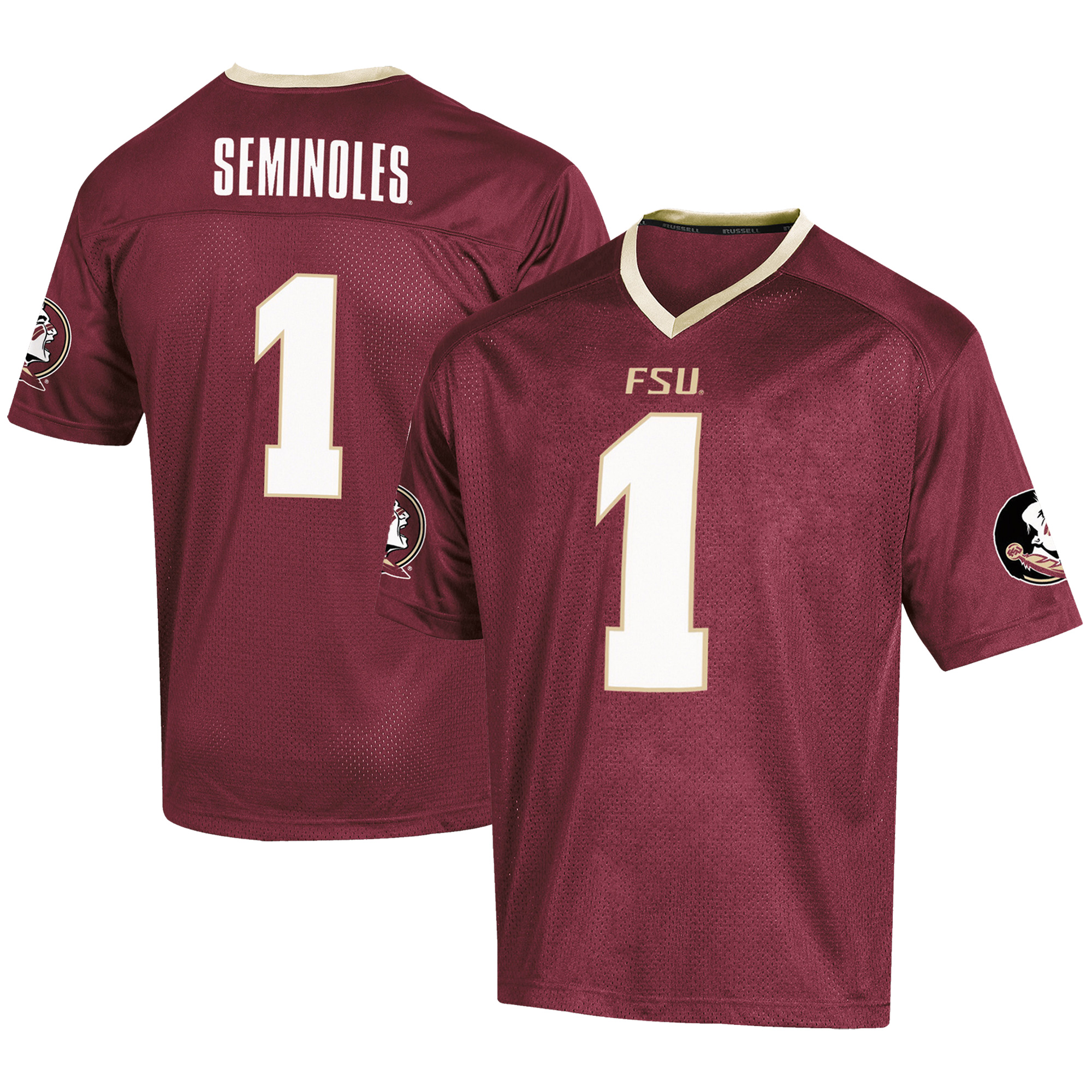 Men's Russell #1 Garnet Florida State Seminoles Fashion Football Jersey
