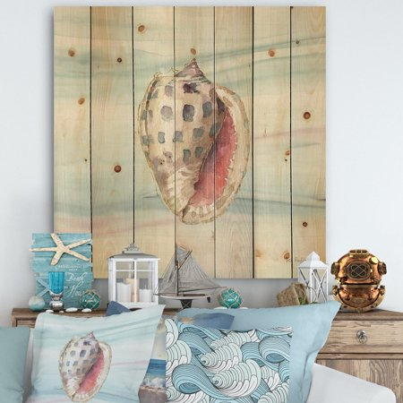 DESIGN ART Designart 'Gilded Sea Horn Shell on Blue' Nautical & Coastal Print on Natural Pine Wood - Blue ()