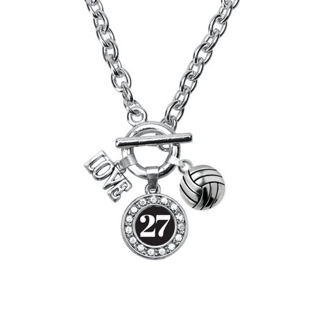 My Sports Number Circle Charm Volleyball Toggle Necklace- Number 27 - 27 Necklace