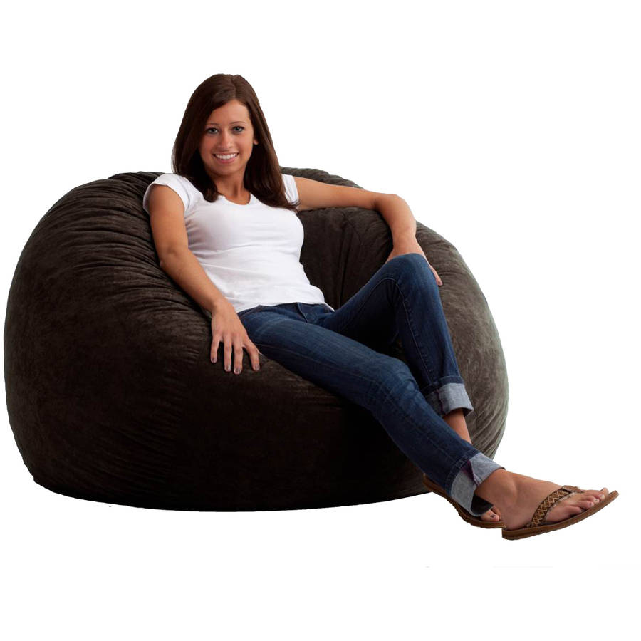 Large 4' Fuf Comfort Suede Bean Bag Chair, Black Onyx
