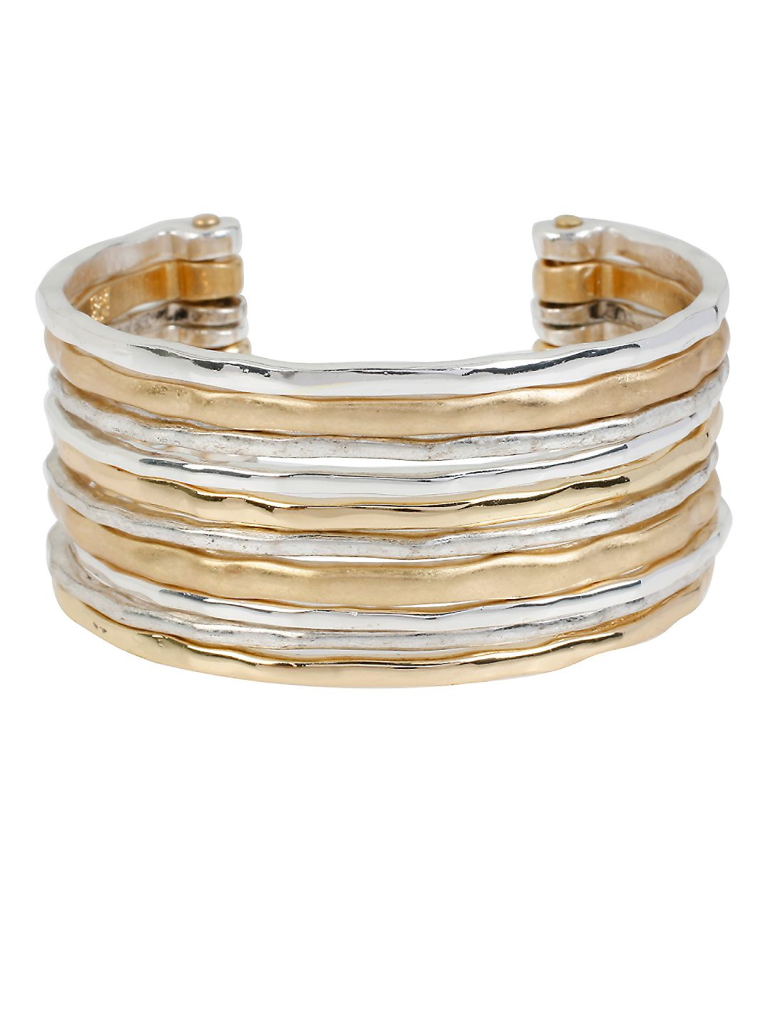 Two-Tone Textured Cuff Bracelet