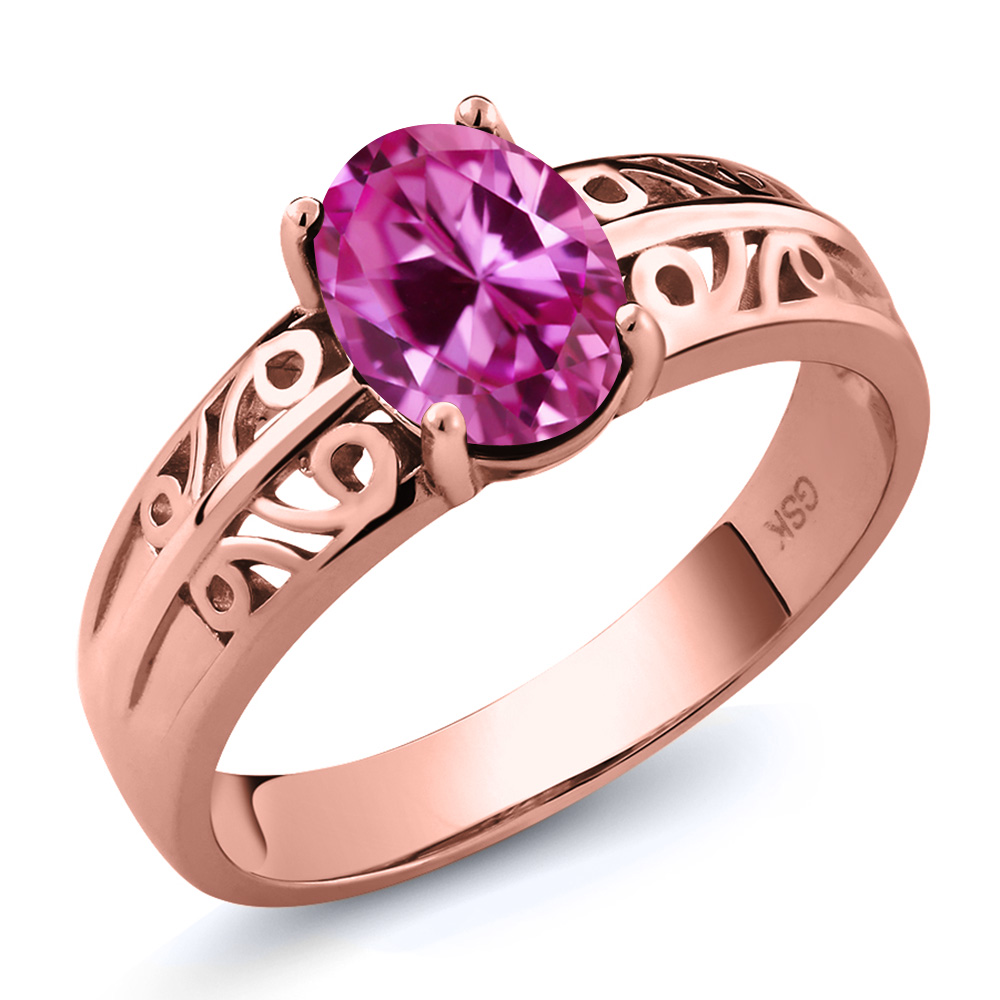 1.65 Ct Oval Pink Created Sapphire 14K Rose Gold Ring