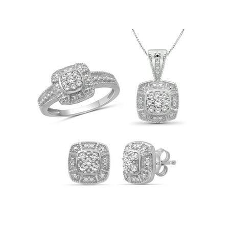JewelersClub 1/3 Carat T.W. White Diamond Sterling Silver 3 Piece Square Jewelry Set