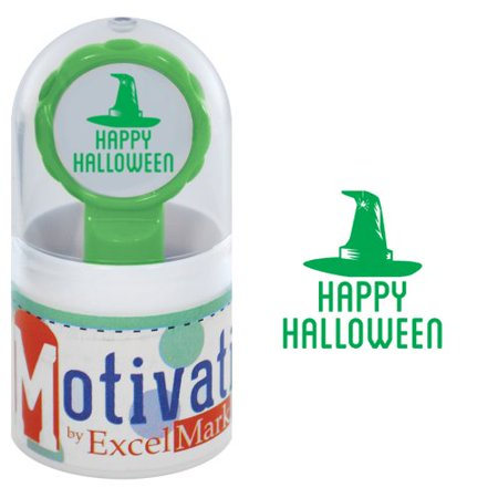 Halloween Postage Stamps (Motivations Pre-inked Teacher Stamp - Happy Halloween (Witch Hat) -)