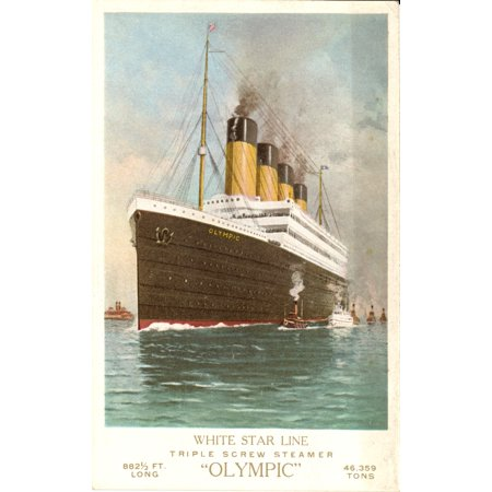 Postcard White Star Liner Triple Screw Steamer Olympic sister ship of Titanic Poster Print