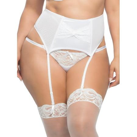 f07c08bc5 Oh La La Cheri - Womens Plus Size Satin Lace Front Briday Garterbelt Garter  Belt Lingerie - Walmart.com