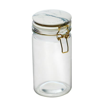 Carrara Marble Round Glass Canister, 32