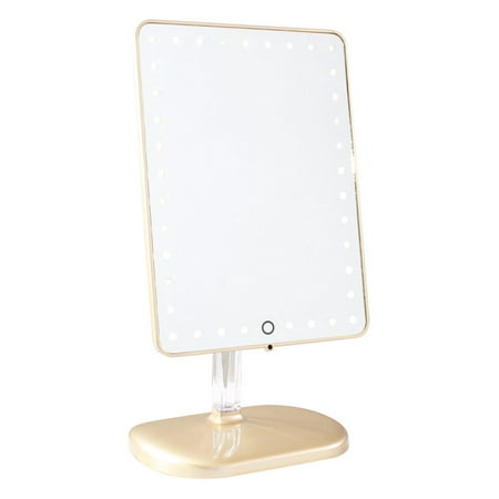 TOUCH PRO LED MAKEUP MIRROR WITH WIRELESS BLUETOOTH AUDIO+SPEAKERPHONE & USB CHARGER IN CHAMPAGNE GOLD