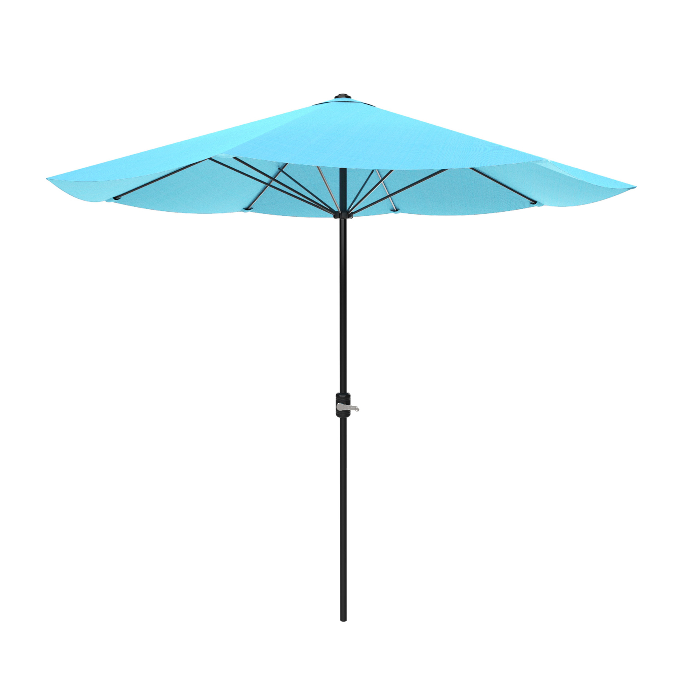 Patio Umbrella, Outdoor Shade with Easy Crank- Table Umbrella for Deck, Balcony, Porch, Backyard, Poolside, 9 Foot by Pure Garden (Blue)