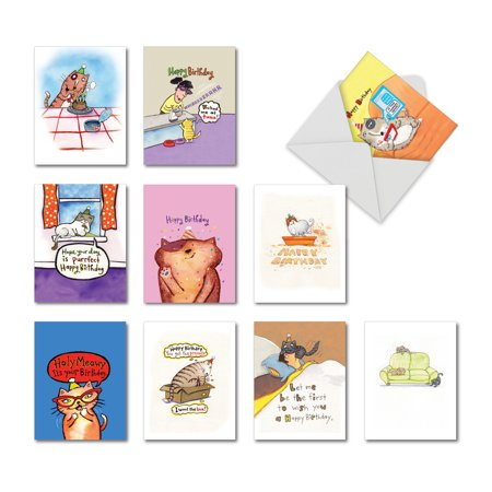 Company Birthday Cards (M3791BDG KITTY BIRTHDAY: 10 Assorted Birthday Note Cards Featuring Cute and Lovable Cartoon Pet Cats Helping You Celebrate Your Big Day, The Best Card Company Stationery with)