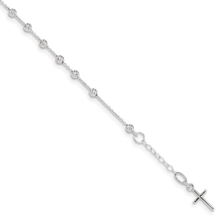 14k White Gold Cross and Miraculous Medal Bracelet 6inch