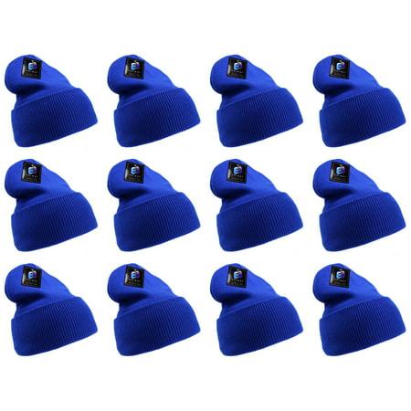 147b64b23d4 Enimay - Enimay Men s Women s Winter Long Beanie Hat Knit Cap Royal Blue 12  Pack - Walmart.com