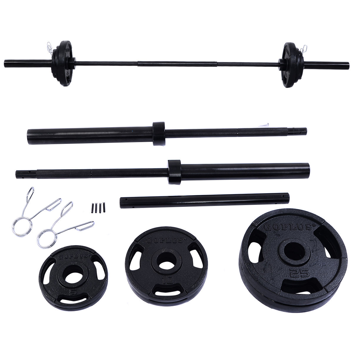 Costway 110 LBS 84'' Olympic Barbell Set Plates Weight Lifting Strength Training Workout