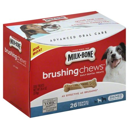 Natural Dental Chews - Milk-Bone Small/Medium Brushing Chews Daily Dental Treats, 20.4-Ounce