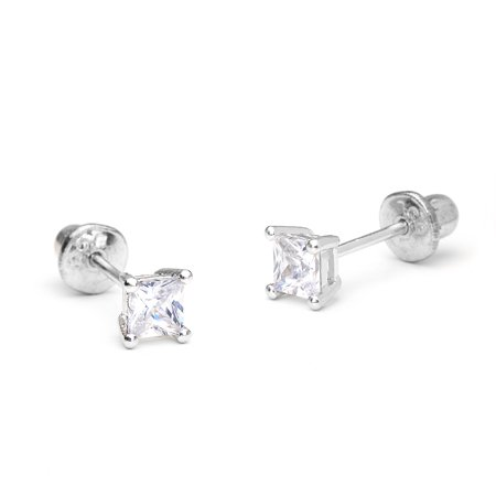 Sterling Silver Rhodium Plated 3mm Princess Cut Cubic Zirconia Stud Screwback Baby Girls Earrings