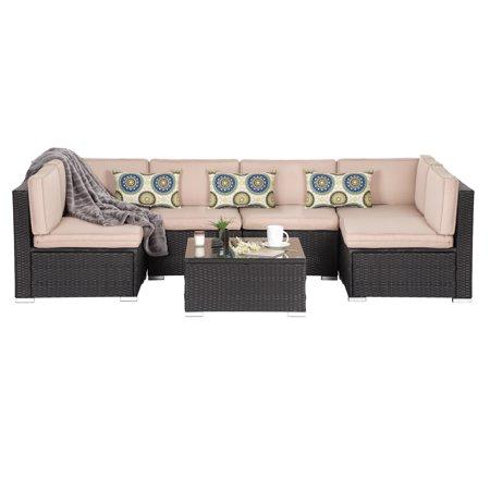 Oakville Luxury Modern 7 Piece Outdoor Patio Garden Furniture Wicker ...