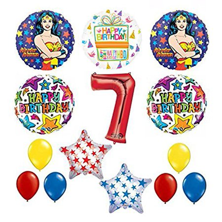 Wonder Woman 14 pc Superhero 7th Birthday Party Supplies and Balloon Decorations - Wonder Woman Pinata
