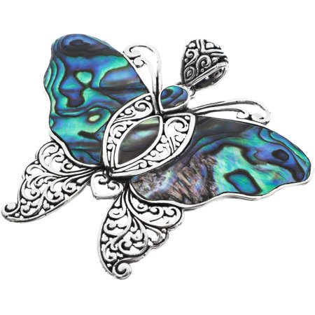Large Butterfly Paua Abalone Shell 925 Sterling Silver Pendant, 2 -