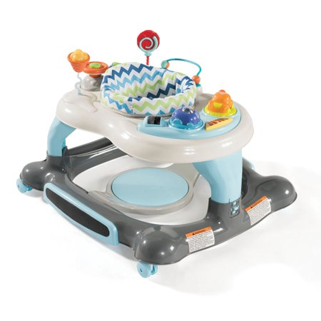 Storkcraft 4-in-1 Activity Walker and Rocker with Jumping Board and Feeding Tray Blue/Gray