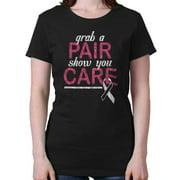 Breast Cancer Awareness Shirt Grab Pair Show Care Pink Ribbon Ladies T-Shirt