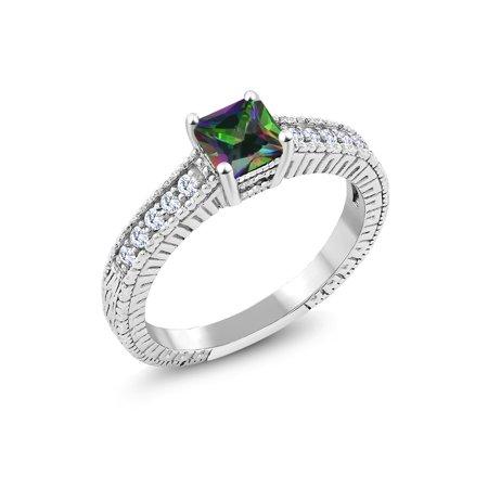 0.95 Ct Princess Green Mystic Topaz G/H Lab Grown Diamond 925 Silver Ring