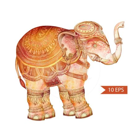 Vintage Elephant Illustration. Hand Draw Painted Ornament.Orient Traditional Ornament. Indian Style Laminated Print Wall Art By polina (Indian Hand Block Print)