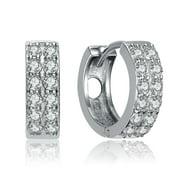 Collette Z  Sterling Silver Cubic Zirconia Double Row Small Hoop Earrings