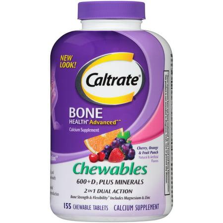 Fiber Supplement Plus Calcium - Caltrate Bone Health Advanced 600+D3 plus Minerals Multi-Flavor Calcium Chewables, 155 Ct