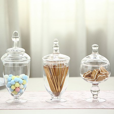 "BalsaCircle Clear 3 pcs 9"" 10"" 11"" tall Glass Apothecary Jars with Lids - Wedding Party Candy Gift Packaging Decorations Supplies"