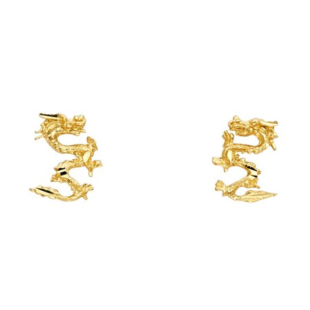 Dragon Stud Earrings Solid 14k Yellow Gold Diamond Cut Style Polished Finish Fancy Design 11 x 7 -