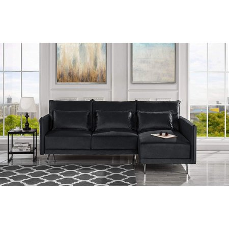 Groovy Midcentury Upholstered 88 1 Inches Velvet Fabric Sectional Sofa Black Gmtry Best Dining Table And Chair Ideas Images Gmtryco