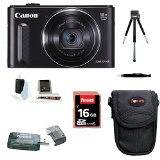 Canon Powershot SX610 HS (Black) with 16GB Accessory Bundle