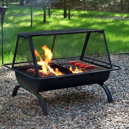 Sunnydaze Northland Outdoor Fire Pit Grill with Spark ...