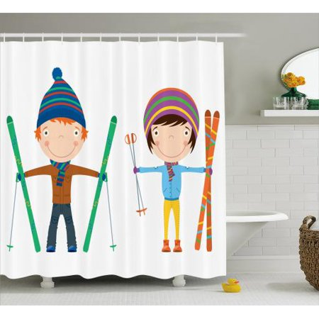 Kids Sports Shower Curtain Funny Siblings And Boy With Skis Winter Fun Hobby Activity Children Print Fabric Bathroom Set Hooks 69w X 75l