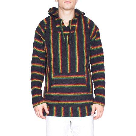 mens pullover poncho hoodie front pocket mexican blanket print (medium,  rasta)