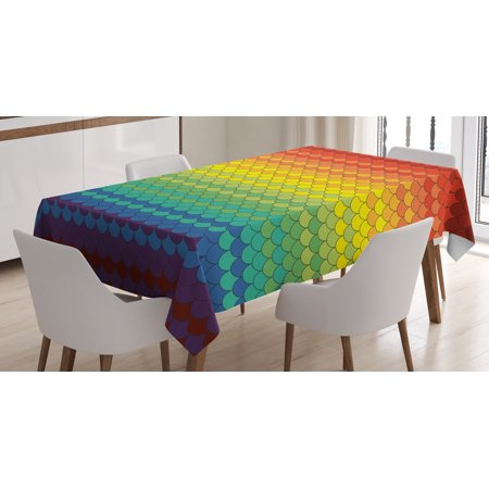 Fiesta Tablecloth, Colorful Scale Pattern Snake and Dragon Skin Abstract Composition Rainbow Inspired, Rectangular Table Cover for Dining Room Kitchen, 60 X 84 Inches, Multicolor, by Ambesonne - Fiesta Tablecloths