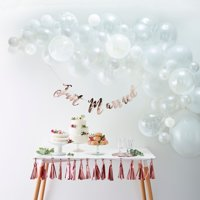 Ginger Ray Premium White Balloon Garland DIY Arch Kit, includes 70 Assorted Latex & Foil Balloons plus 4m Balloon Tape