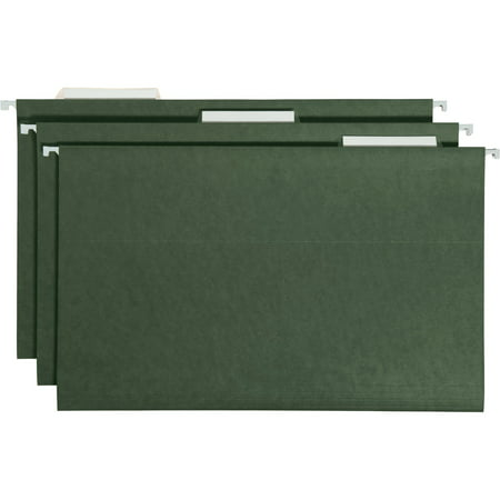 Essentials Hanging File Folders (Smead Hanging File Folder, 1/3 Tab, Green, Legal Size, 25/Box)