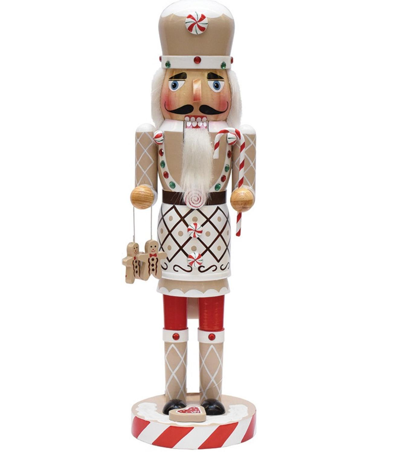 "14"" Gingerbread Kisses White, Red and Green Decorative Wooden christmas Nutcracker Chef"