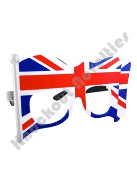 Party Costumes - Sun-Staches - UK Flag Clear Lens Glasses Toys Sunglasses SG2013