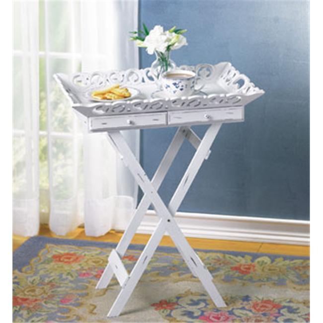 SWM 33139 22'' L x 15 1/2'' W x 27'' H Wood Elegant Tray Table Stand - White