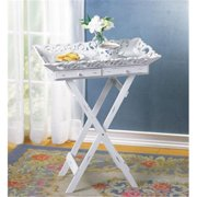 SWM 33139 22'' L x 15 1/2'' W x 27'' H Wood Elegant Tray Table Stand - White