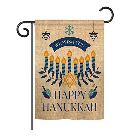 Wish You Happy Hanukkah Winter - Seasonal Impressions Decorative Vertical Garden Flag - Printed in USA - Hanukkah Outdoor Decorations