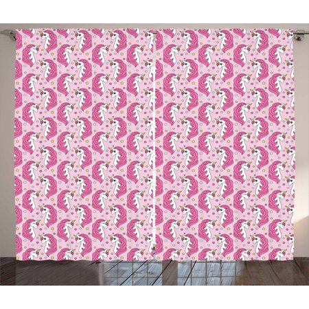 Unicorn Party Curtains 2 Panels Set, Girly Horses with Horns on ...