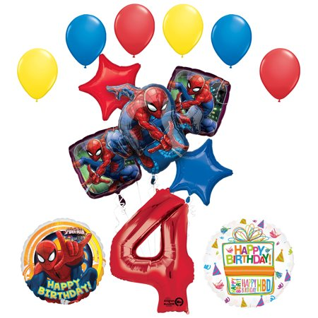 Spiderman Birthday Decorations (The Ultimate Spider-Man 4th Birthday Party Supplies and Balloon)