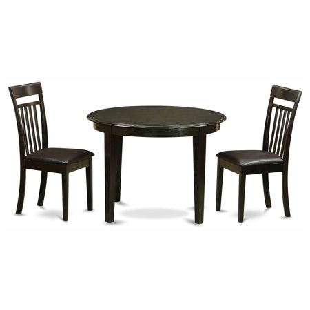 East West Furniture Boston 3 Piece Round Dining Table Set with Capris Faux Leather Seat Chairs